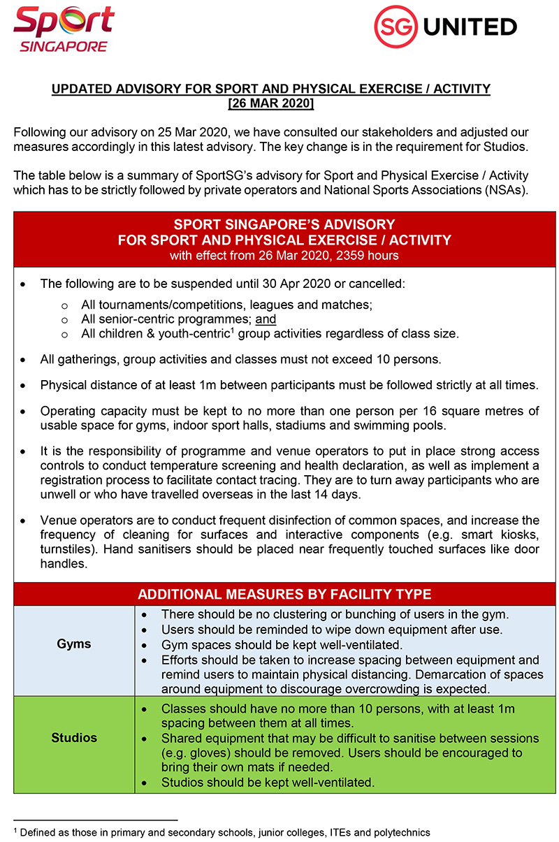 Updated Advisory For Sport And Physical Exercise Activity pg01