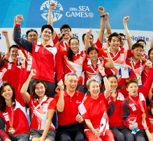 PM Lee with swimming team 219x201