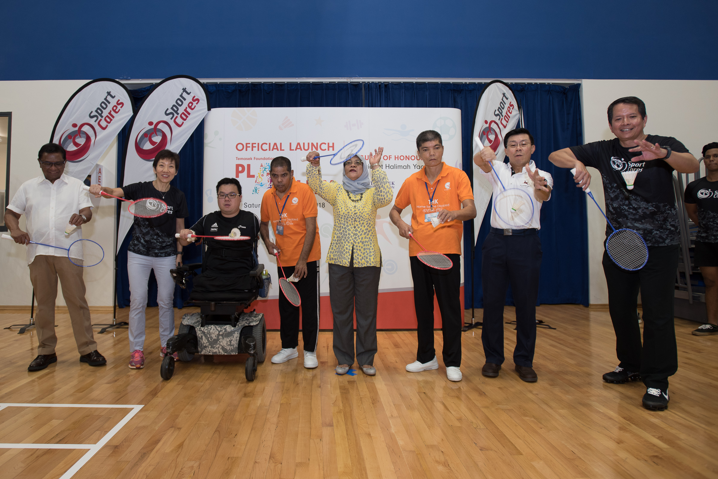 President Halimah Yacob with residents from Thye Hua Kwan Home for Disabled Adults, Minister Grace Fu and Advisor Lee Yi Shyan at the Temasek Foundation Cares - Play-Ability programme launch