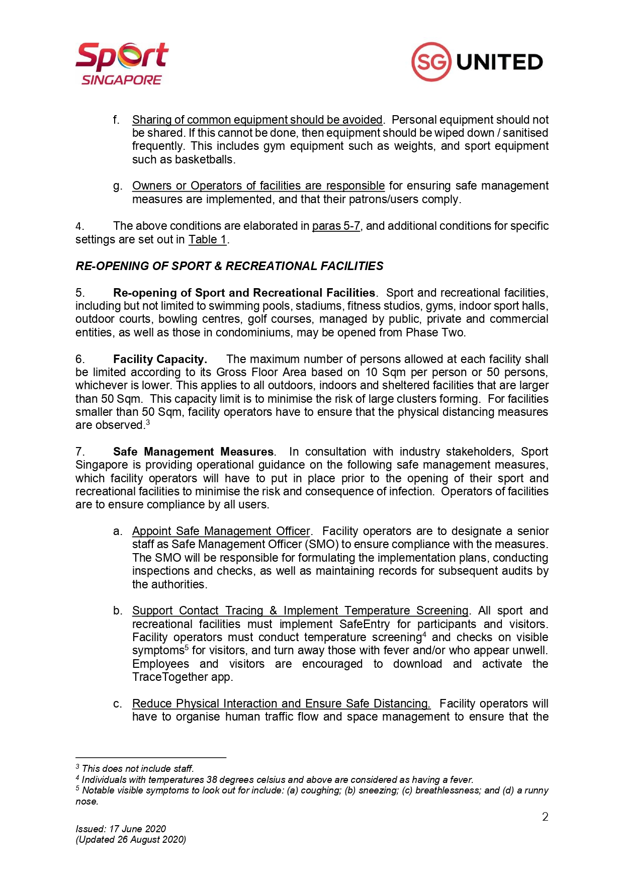 Sportsg Updated Advisory For Resumption Of Sport And Physical Exercise And Activity For Phase Two Safe Transition