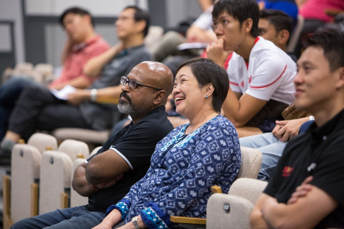 Mrs. Lim, principal of EVGSS (centre) listening to the sharing by SportSG during the Learning Journey. [Photo Credit: Sport Singapore]